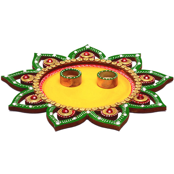 Floral Wood and Clay Work Arthi Thaali with Hand Painted Motifs