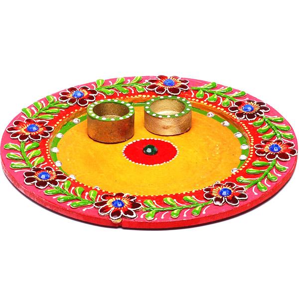 Wood and Clay Handmade Traditional Arthi Thaali