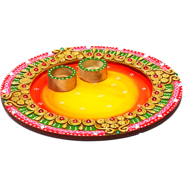 Sun Design Wood and Clay Work Arthi Thaali with Hand Painted Motifs