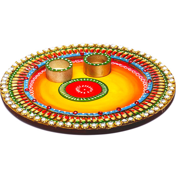 Wood and Clay Work Arthi Thaali with Hand Painted Motifs