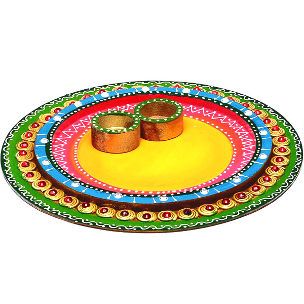 Wood and Clay Arthi Thaali with Hand Painted Work