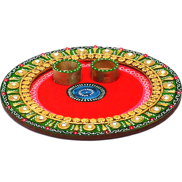 Traditional Arthi Thaali Crafted in Wood with Clay and Paint Work