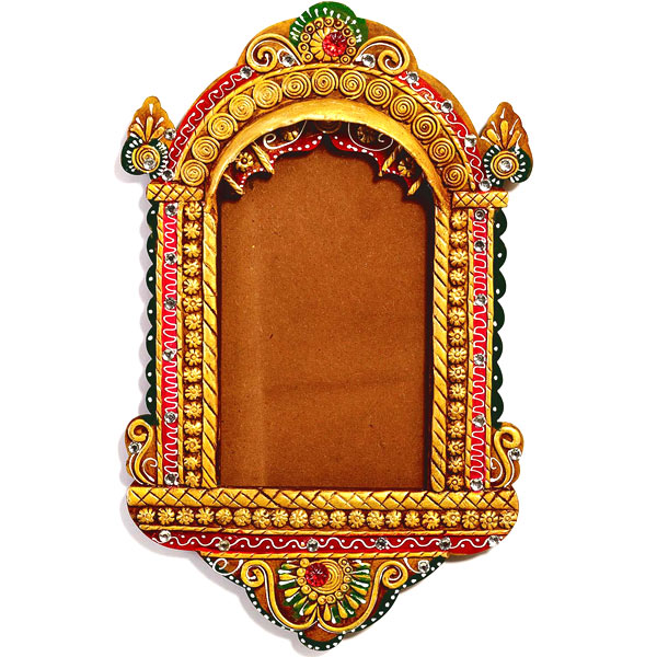 Traditional Palace Window Photo Frame with Wood and Clay Art