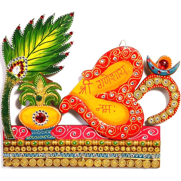 Kalash and Om Symbol Wall Art with Wood and Clay Art Work