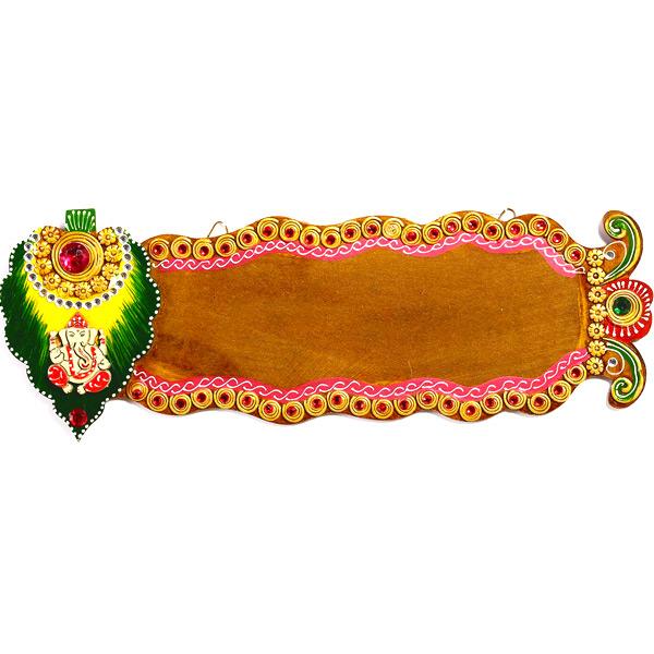 Shree Ganesha Name Board with Wood and Clay Art Work