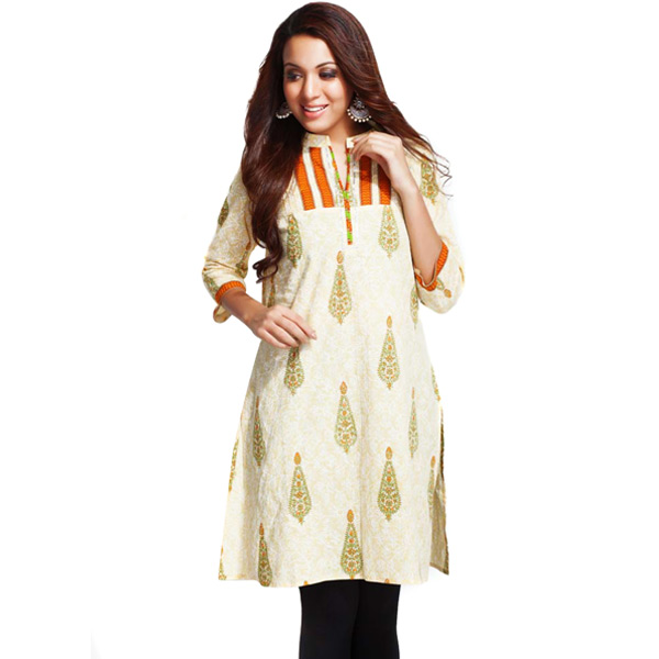 Vanilla White and Orange Pure Cotton Printed Kurti