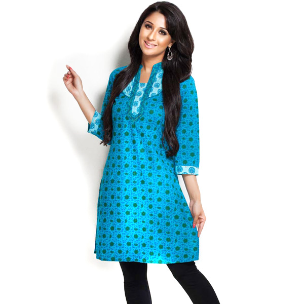 Cerulean Blue and Dark Green Paisley Print Cotton Kurti