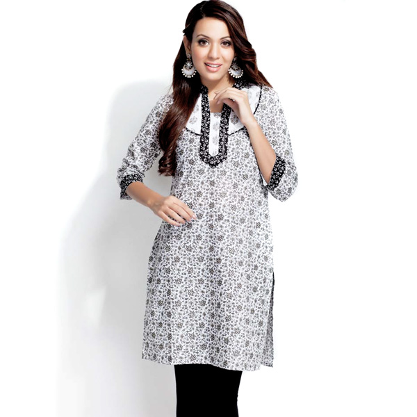 Black and White Printed Pure Cotton Kurti