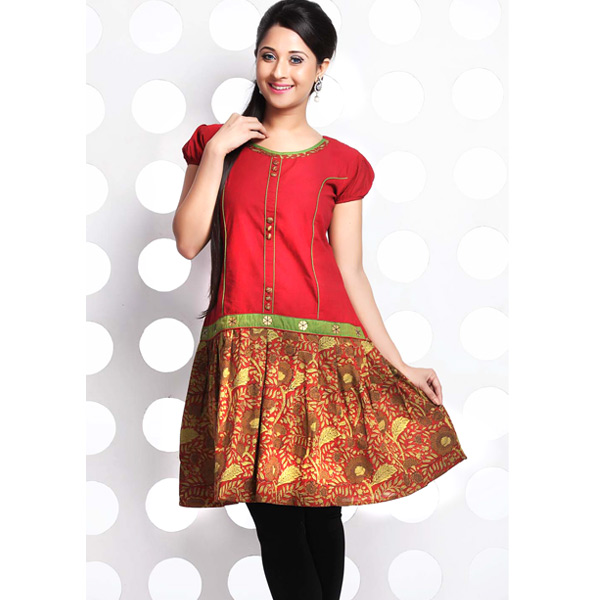 Fire Brick Red Frock Style Handloom Cotton Kurti