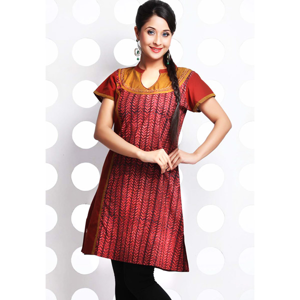 Burgundy Red and Rust Brown Handloom Cotton Patchwork Kurti