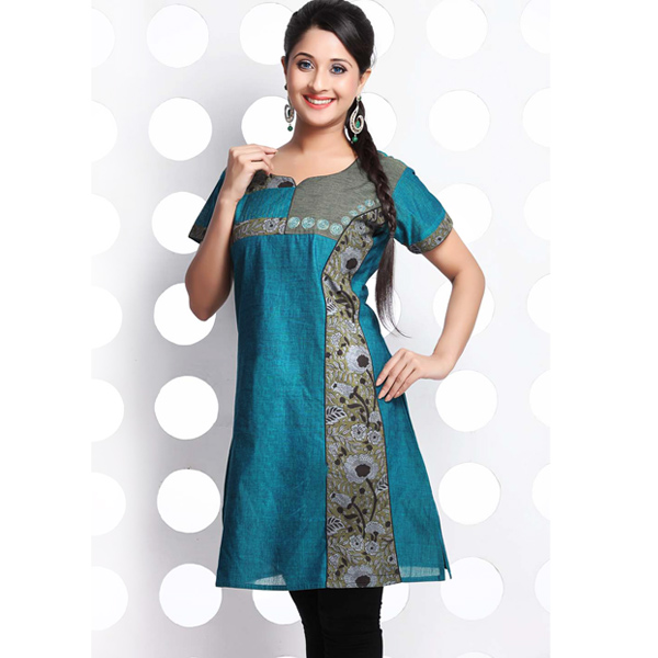 Grey and Teal Blue Raw Cotton Patchwork Kurti