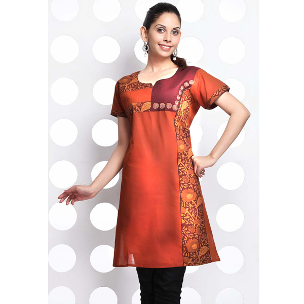 Flame Orange and Maroon Raw Cotton Patchwork Kurti