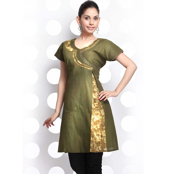 Dark Olive Green Angrakha Style Handloom Cotton Kurti