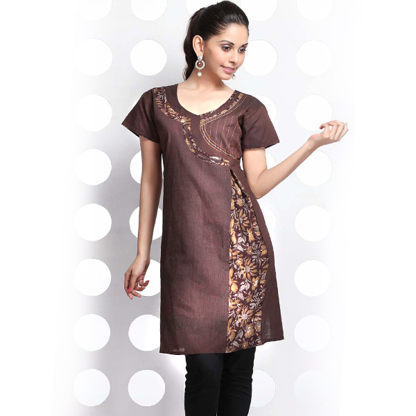 Bole Brown Angrakha Style Handloom Cotton Kurti