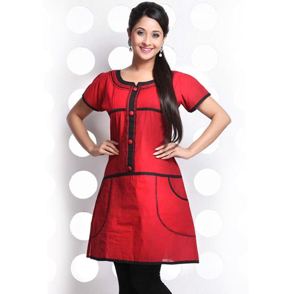 Red and Black Short Sleeve Handloom Cotton Kurti