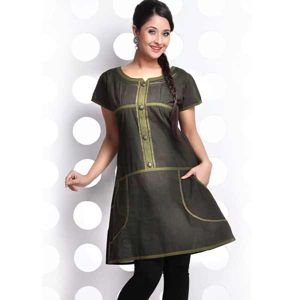 Taupe and Olive Drab Short Sleeve Handloom Cotton Kurti
