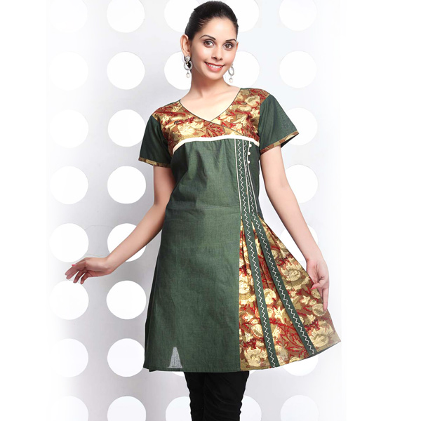 Hunter's Green Crossover Cotton Flaired Kurti with Embroidery