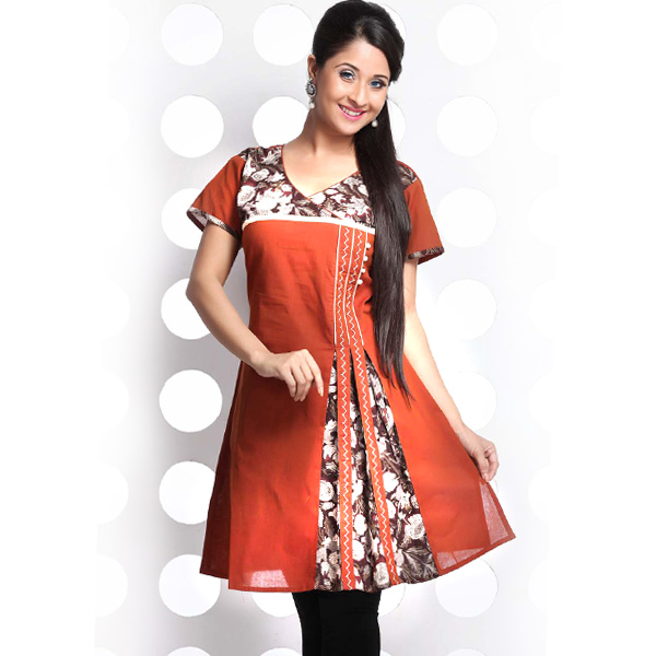 Rust Brown Crossover Cotton Flaired Kurti with Embroidery