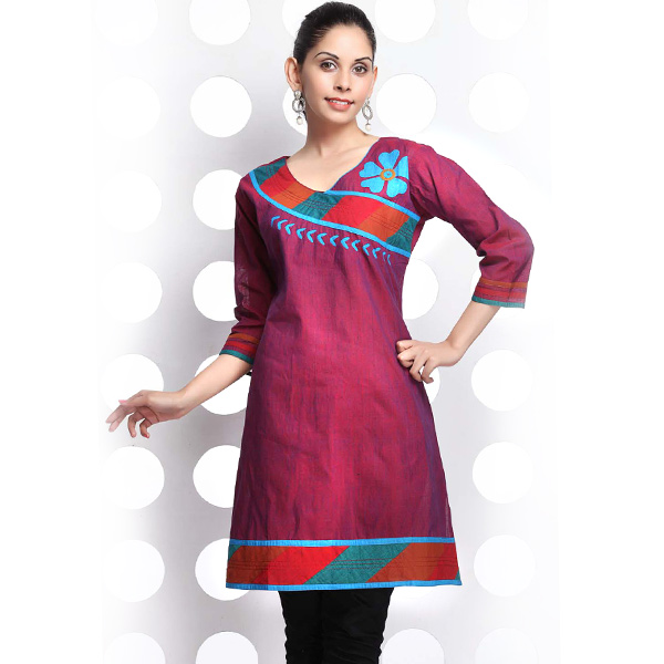 Fandango Pink and Orange Double Shaded Mangalgiri Cotton Kurti