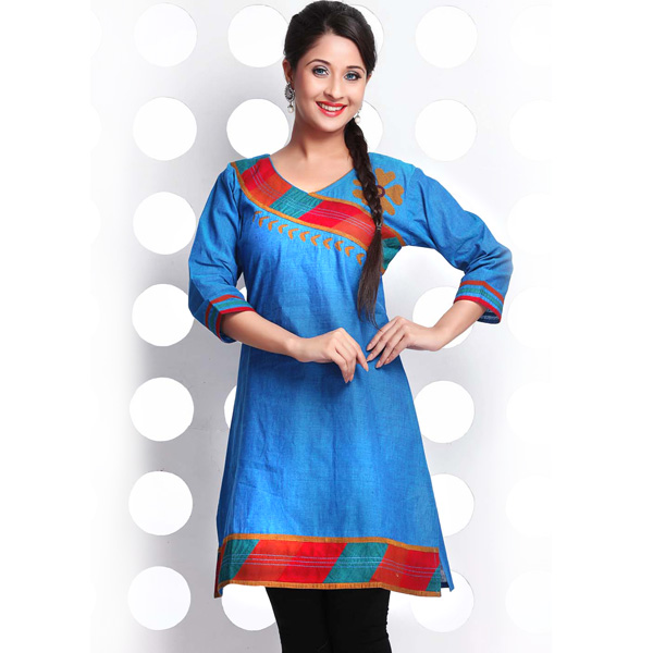 Double Shaded Turquoise Blue Mangalgiri Cotton Kurti