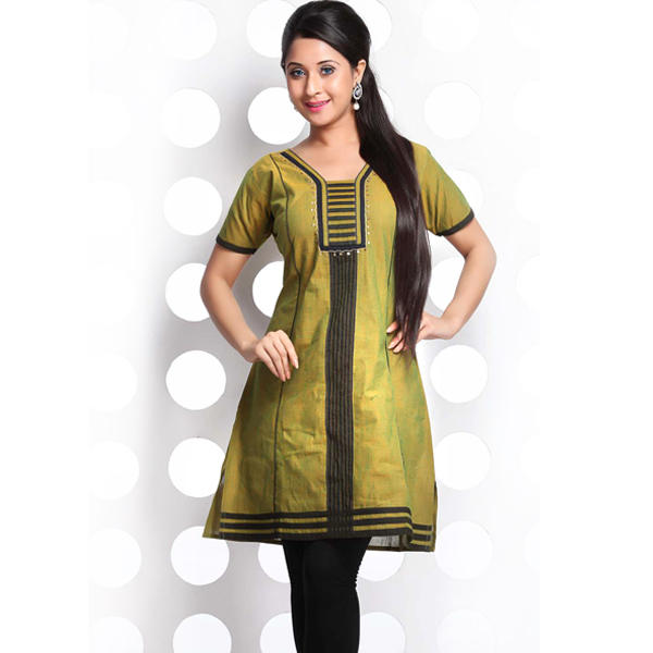 Olive Drab and Black Patchwork Handloom Cotton Kurti