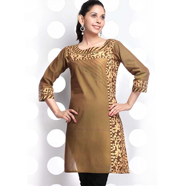 Raw Umber Brown and Printed Cotton 3/4th Sleeve Kurti