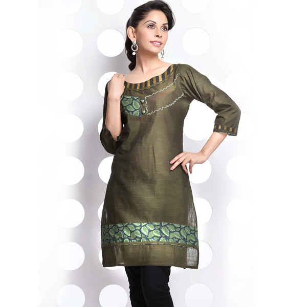 Ebony Leaf Printed Patchwork Cotton Kurti