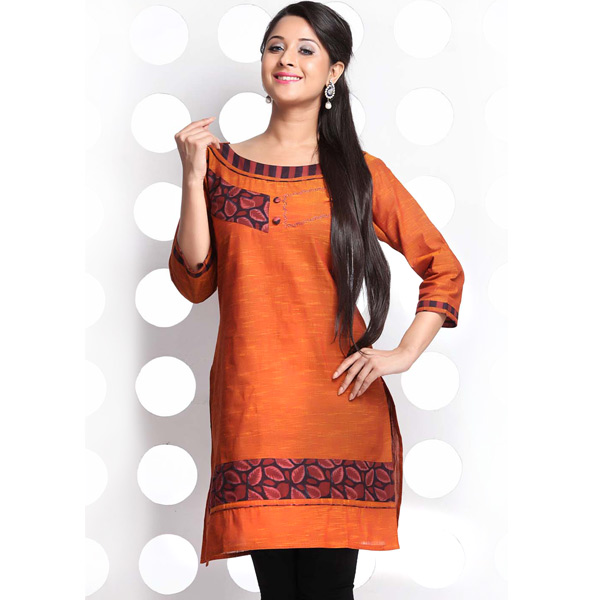 Rust Orange Leaf Printed Patchwork Cotton Kurti