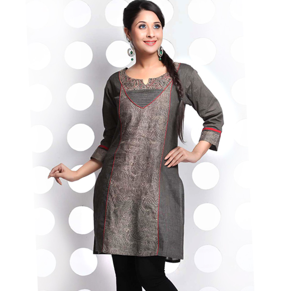 Charcoal Grey Plain and Printed Patchwork Handloom Cotton Kurti