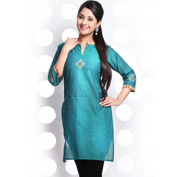 Bondi Blue Embroidery High Collar Mangalgiri Cotton Kurti