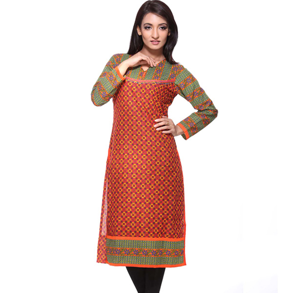Red and Green Block Print Full Sleeves Cotton Kurti