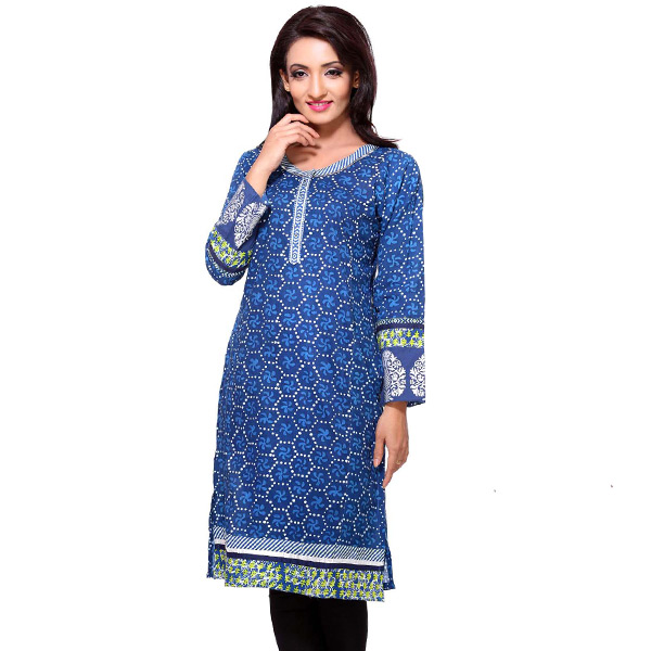 Deep Blue Block Print Full Sleeves Cotton Kurti