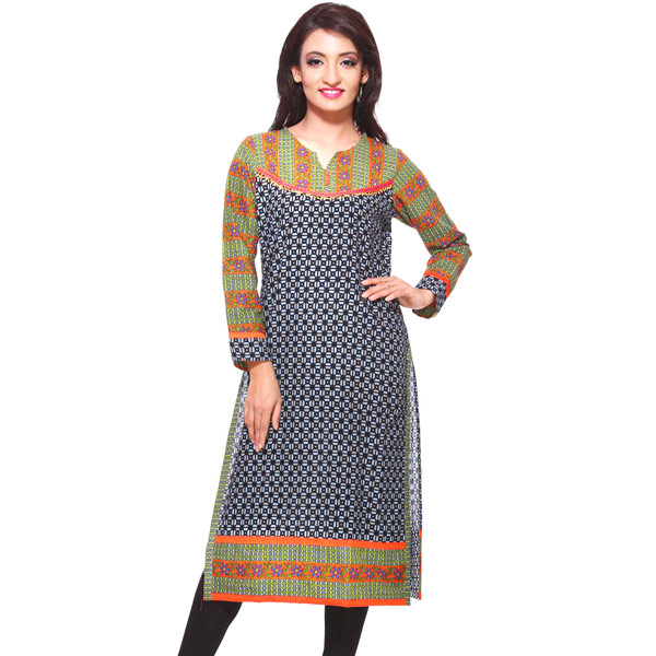 Black and Green Block Print Full Sleeves Cotton Kurti