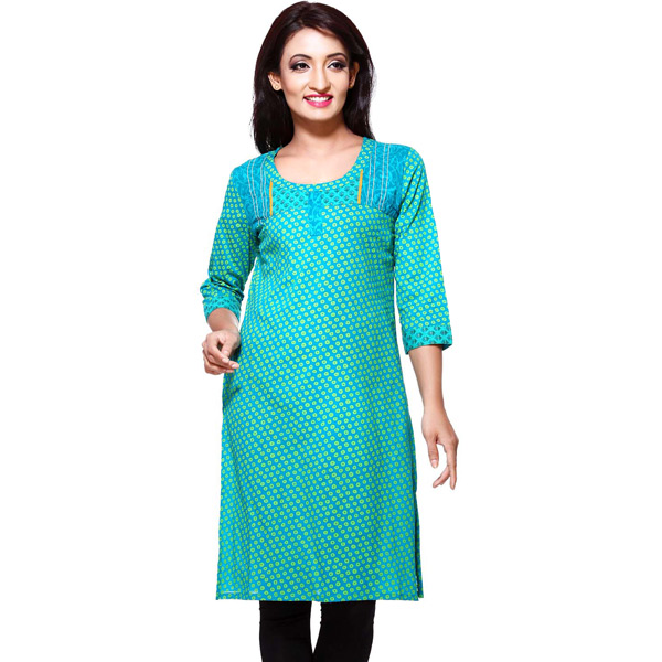 Sea Green Printed Pure Cotton Kurti
