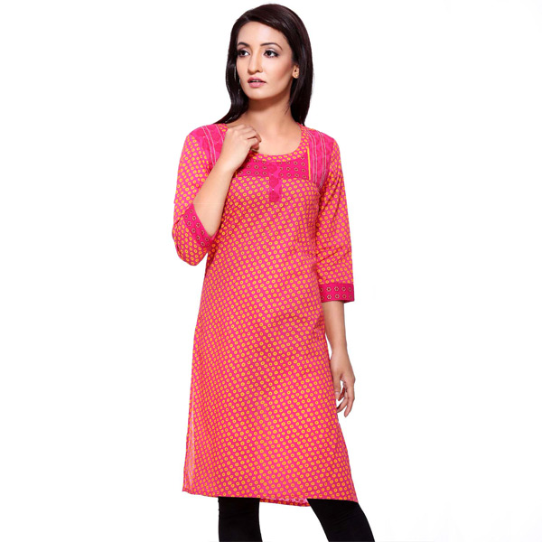 Coral and Dark Pink 3/4th Sleeve Printed Pure Cotton Kurti