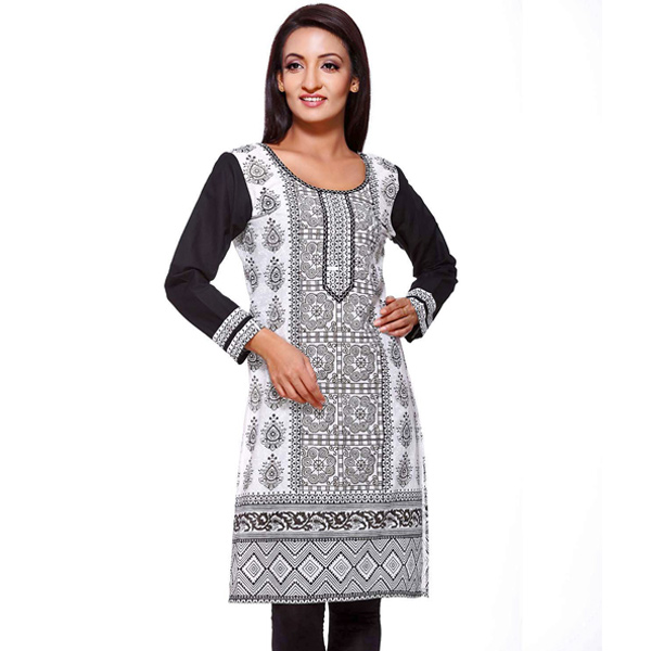 Black and White Block Print Full Sleeve Pure Cotton Kurti