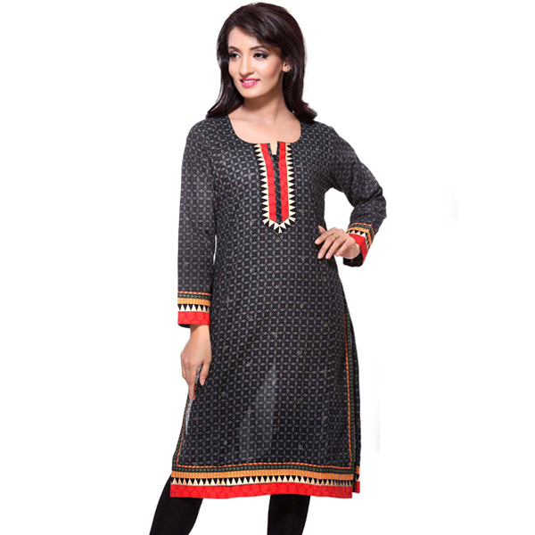 Black and Red Printed Full Sleeve Pure Cotton Kurti