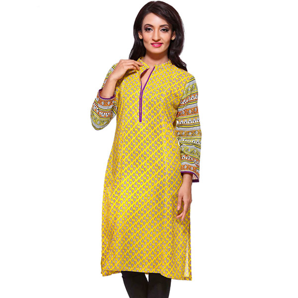Golden Yellow Printed Pure Cotton Kurti