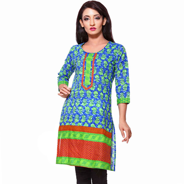 Blue Green and Brown Printed Pure Cotton Kurti