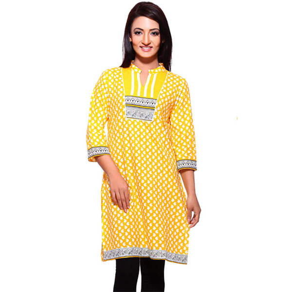 Corn Yellow Printed Pure Cotton 3/4th Sleeve Kurti