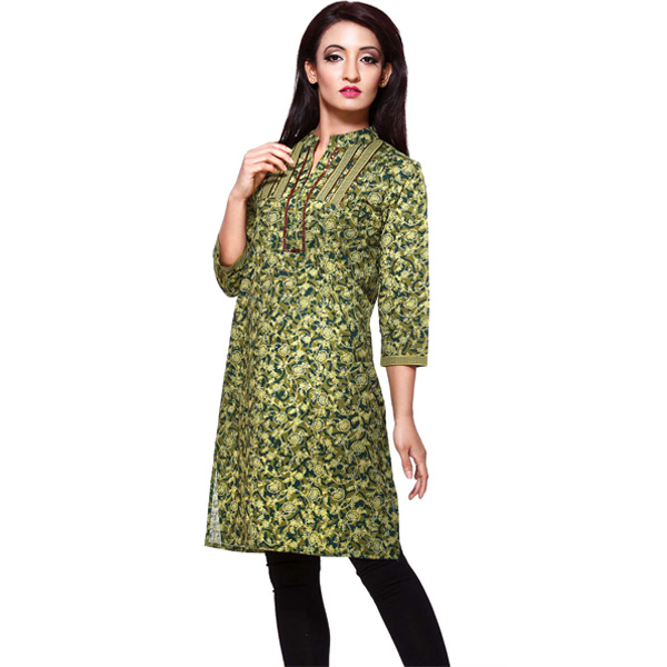 Black and Dark Green Pure Cotton 3/4th Sleeve Kurti