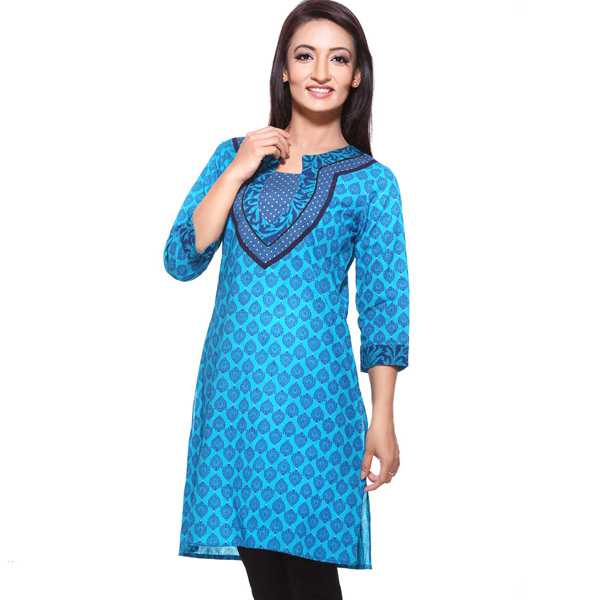 Cool Blue Pure Cotton 3/4th Sleeve Kurti
