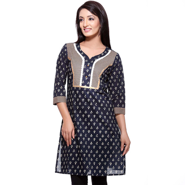 Navy Blue and White Block Print 3/4th Sleeve Pure Cotton Kurti