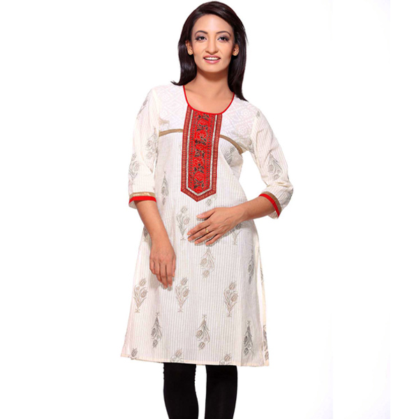 White and Red Pure Cotton Elegant Kurti