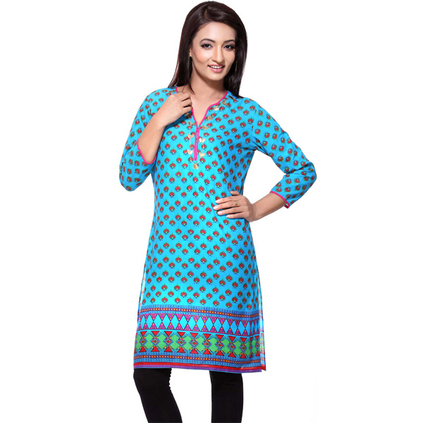 Cobalt Blue 3/4th Sleeves Pure Cotton Printed Kurti