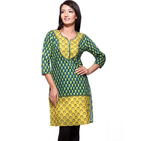 Dark and Light Green Pure Cotton Kurti