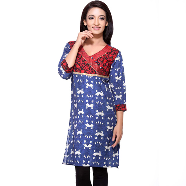 Red and Blue 3/4th Sleeves Printed Cotton Kurti