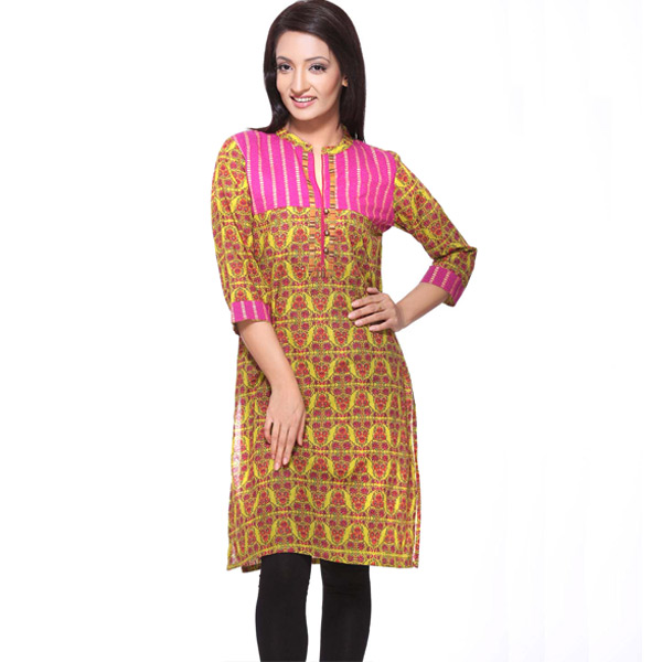 Green and Pink 3/4th Sleeves Printed Pure Cotton Kurti