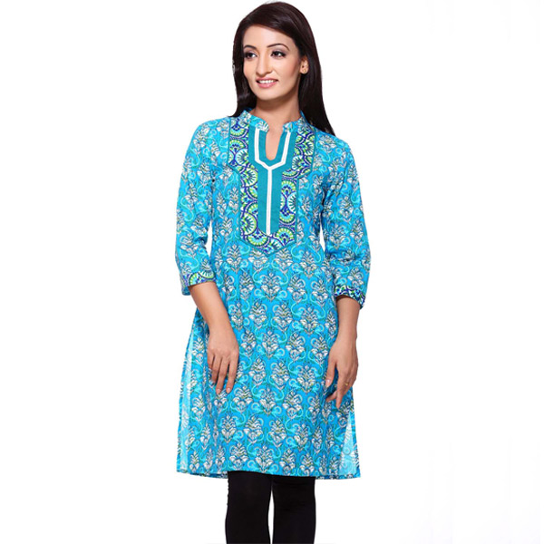 Light Blue Floral Print Pure Cotton Kurti