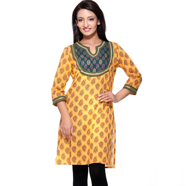 Mustard Yellow Block Print Pure Cotton Kurti